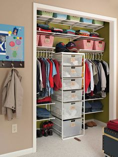 Nursery Storage Organization Tips & Ideas, Small Closet Organization Hacks. Find easy ways to maximize the space of your nursery closet. Boys Closet, Shared Closet, Closet Bedroom, Girls Bedroom, Bedroom Storage, Bedroom Ideas, Kids Closet Storage, Kid Bedrooms, Closet Storage Drawers