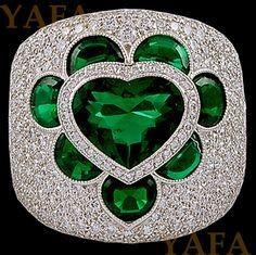 Modern Platinum Heart Shape Emerald and Diamond Ring