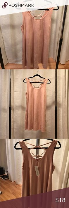 """Nordstrom Socialite suede swing dress - blush M Faux suede trapeze flowy dress. Scoop neck. Double criss cross x straps in back. Vegan suede and hidden side pockets. Approx 33"""" long. 29"""" across when laying flat. This dress is so soft!! Nordstrom Dresses"""