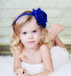Royal / Light Navy Blue Flower Headband - Light Navy Blue Chiffon Rose Headband or Hair Clip - The Emma - Baby Toddler Child Girls Headband Rose Headband, Flower Girl Headbands, Flower Girl Dresses, Flower Girls, Navy Blue Flowers, Blue Bow, Light Navy Blue, Lavender Bouquet, Stretchy Headbands