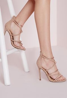 Missguided - Knot Front Heeled Sandals Rose Gold