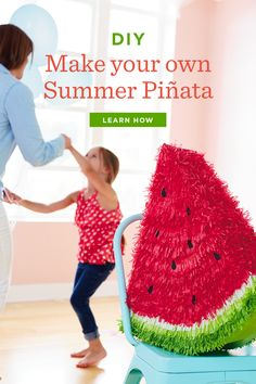 Add some color to your summer festivities with these fun DIY summer-inspired piñatas. Diy Arts And Crafts, Home Crafts, Crafts For Kids, Paper Art, Paper Crafts, Make Your Own, How To Make, Summer Diy, Fun Diy