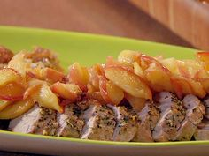 Uptown Pork Chops and Apple Sauce: Roast Pork Tenderloins with Escalloped Apples recipe from 30 Minute Meals via Food Network Pork Chops And Applesauce, Apple Pork Chops, Pork Chop Recipes, Apple Recipes, Pork Dishes, Tasty Dishes, Roast Pork Fillet, Roasted Pork Tenderloins, Side Dishes