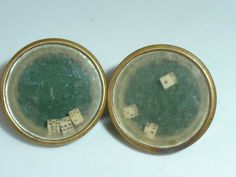 ANTIQUE PAIR VICTORIAN BACHELOR BUTTONS GAMBLING DICE STUDS