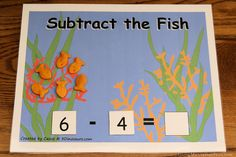 subtraction activity - could be nice if the sheet was laminated then could change numbers and whether adding, subtracting etc...
