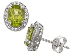 Peridot And Synthetic White Sapphire Silver Stud Earrings 2.66ctw