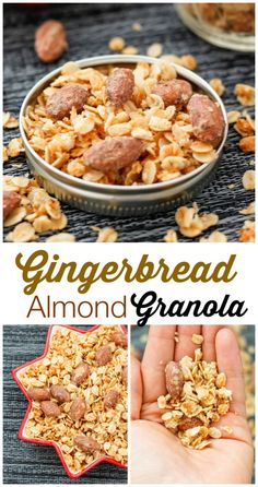 Gingerbread Almond Granola- The perfect #christmas gift- Chock full of #gingerbread flavours mixed with crunchy almonds! #glutenfree, low in sugar and only requires one bowl! Perfect for breakfast too!