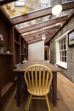 The Timber Frame Extension The Timber Frame Extension - YARD Architects Gazebos, Wall Shelf Decor, Wall Shelves, Patio Interior, Victorian Terrace Interior, House Extensions, Kitchen Extensions, Decorating Small Spaces, Victorian Homes