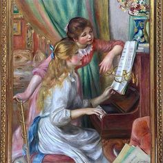 """Pierre Auguste Renoir """"Girls at the Piano"""" 1892 Oil on canvas 116 x 90 cm Musée d'Orsay Paris.  Auguste Renoir 1841-1919 was one of the leading painters of the Impressionist group. He moved to Paris joining the studio of the fashionable painter Charles Gleyre around 1861. In Paris he encountered other painters notably Monet and Sisley who were later to become Impressionists. In 1869 he and Monet worked together sketching on the Seine and Renoir began to use lighter colours. He evolved a…"""
