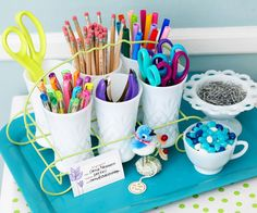 Create storage for crafts and office supplies in a collection of milk glass displayed in a vintage drink caddy set on a colorful tray. You can simply carry this cheap craft storage tray to any work space. Craft Organization, Craft Storage, Storage Ideas, Organizing Crafts, Storage Solutions, Organizing Solutions, Organising, Jewelry Storage, Scrapbook Supplies