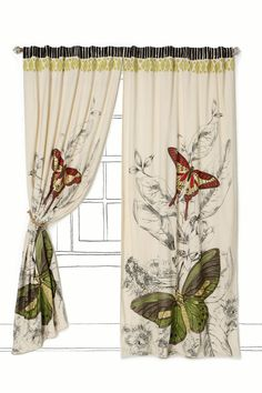 Curtain - love this.  I think it would look much more modern hanging on curtain rings or with grommets.  Beautiful.