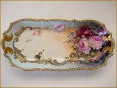 Stunning Antique LIMOGES Porcelain TRAY Hand Painted ROSES /Raised Beading&Gold: