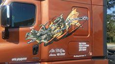 This chained dragon vinyl graphics on a big semi truck photo sent by customers. Semi Trailer, Oracal Vinyl, Installation Instructions, Semi Trucks, State Art, Vinyl Decals, Dragon, Graphics, Big