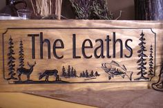 Wood Carved Ranch Cabin Signs Last Name by BenchmarkSignsGifts, $39.99