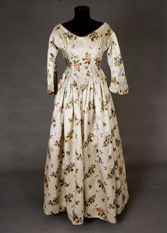 Warp Printed Silk satin Gown, Late 1840s.