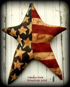 Primitive Folk Art Painted Americana Patriotic Flag Star-Door