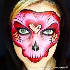 From last year! Happy (almost) Valentine's Day! HAAAHAHAHA ❤ #mycreepyvalentine #skull #facepaint #makeup #facepainter #facepainting #makingfaces #makingfacesandtutus