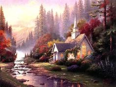 Wall Art Thomas Kinkade Forest Chapel - Art Prints Painting on Canvas for Home Decor Bedroom and Living Room Unframed 1 Piece *** Learn more by visiting the image link. Kinkade Paintings, Art Paintings, Pintura Colonial, Thomas Kinkade Art, Thomas Kincaid, Art Thomas, Beautiful Paintings, American Artists, Landscape Art