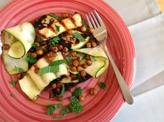 Grilled Halloumi and Zucchini Salad with Crispy Chickpeas
