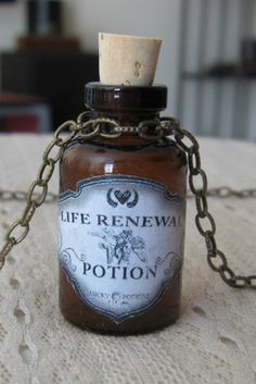 Life Renewal Potion Glass Bottle Necklace Pendant Apothecary Vial