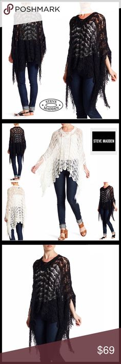 """⭐️⭐️ STEVE MADDEN PULLOVER Topper Cardi * NEW WITH TAGS * SIZING- Tagged OS, fits approx sizes 2-16, S-XL STEVE MADDEN PULLOVER Poncho Cardi  * Relaxed Silhouette; Approx 28""""-34"""" long  * Allover beautiful crochet construction  * Tassel fringe hem detail, approx 7"""" long  * V-neck & lace-up neck  * Pullover style  * Super soft & lightweight for layering  Fabric: 100% Acrylic  Color- Black Item# SEARCH# loose knit oversized duster cable knit 🚫No Trades🚫 ✅ Offers Considered*✅ *Please use the…"""
