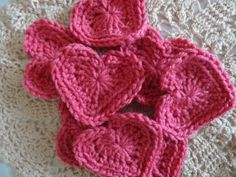 <3 BE MINE Pink/ Rose Hearts   Knitting Or Crochet Stitches.