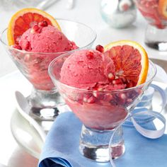 Blood-Orange Pomegranate Sorbet:  1/2 cup (calculated without garnishes) equals 225 calories