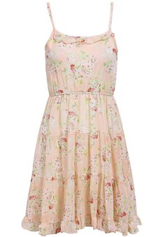 Pink Spaghetti Strap Floral Pleated Dress $20.83