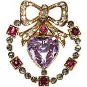 Antique Victorian 18 carat gold amethyst, ruby and diamond heart pendant/brooch with 9 carat g
