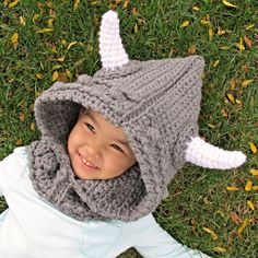 The young vikings in the fam are gonna need this! Crochet Pattern - Viking Style - a hood w/ cowl & horns.
