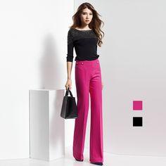 Moda de Cintura Alta Pantalones de Lana Caliente Para Las Mujeres Nueva  Oficina Delgado vestido de 9da0e427f927