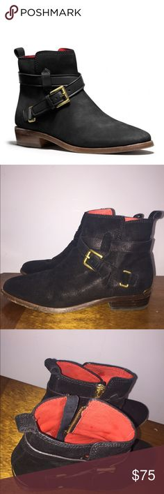 Coach Black Bootie With Gold Buckle Coach black buckle bootie with red interior. Worn several times, however, still in excellent condition! Fits true to size. Coach Shoes Ankle Boots & Booties