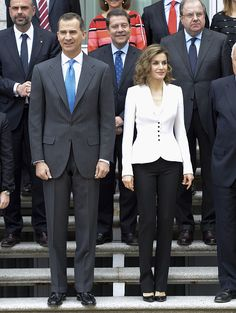 (L-R) King Felipe VI of Spain and Queen Letizia of Spain attend a meeting for Miguel de Cervantes IV Centenary at Zarzuela Palace on April 14, 2016 in Madrid, Spain.