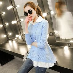 2015 spring women 's round neck hollow piece knit pullover USD$17.47