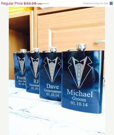Set of 3 Engraved Flasks, Personalized Groomsmen Gift,, Black Engraved Flasks,8 oz. Hip Flask on Etsy, $50.97