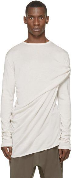 Thamanyah - Beige Cashmere Draped Shoulder Knit Top