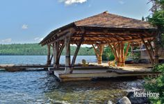 This is a fishing camp boathouse in northern Maine!