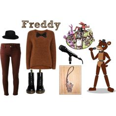 Freddy - Five Nights At Freddy's by csakuraninja on Polyvore featuring Monsoon, dVb Victoria Beckham, Dr. Martens, REINHARD PLANK, Freddy and Theory