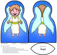 Muñeco para armar: Ángel Object Lessons, Bible Lessons, Bible Crafts, Bible Art, Lds Clipart, School Cartoon, Nativity Crafts, Bible Activities, Sunday School Crafts