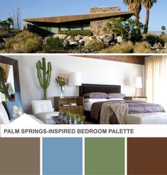 Palm Springs-Inspired Neutral Bedroom Color Palette on HGTV Design Happens (http://blog.hgtv.com/design/2014/02/18/modern-bedroom-color-palette-blue-green/?soc=pinterest)