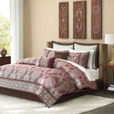 Harrison Comforter Set - BedBathandBeyond.com with maroon or dark tan sheets, love the three plaques on the wall.