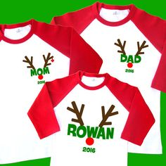 bca71712 Items similar to Rudolph Christmas Family Shirts. Reindeer Shirts.  Personalized Raglan with Name. Holiday Shirts. [Dad Mom Daddy Mommy Grandpa  Grandma] 2092 ...
