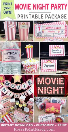 Throw an awesome movie night party with these decorations, invitations and more. Fully editable at home. Perfect for birthdays, weddings, baby showers, bridal show Sleepover Birthday Parties, Birthday Party For Teens, Birthday Party Decorations, Party Themes For Teenagers, Women Birthday, 12th Birthday, Movie Themed Parties, Sleepover Party Ideas For Girls Tween, Movie Theme Decorations