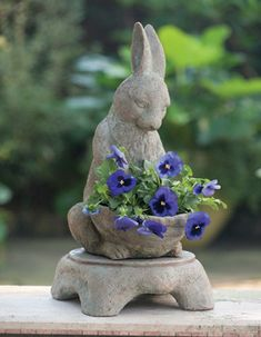 Garden Bunny with Pedestal.