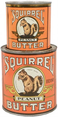 Squirrel Peanut Butter I loved peanut butter as a kid and the kid in me still does.even though I am into my juicy crone years.yummy in the tummy.all natural chunky peanut butter. Vintage Tins, Vintage Labels, Vintage Ephemera, Vintage Love, Vintage Kitchen, Vintage Antiques, Plywood Furniture, Design Lounge, Design Design
