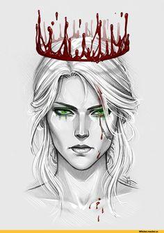 The Witcher, Ciri Witcher Art, The Witcher 3, Ciri Witcher, Art Sketches, Art Drawings, Throne Of Glass, Red Queen, Queen Art, Tattoo Girls