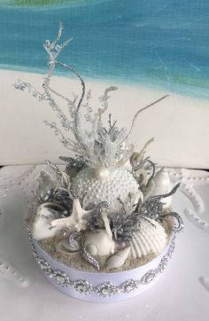 Elegant white seashell and coral beach wedding cake topper !
