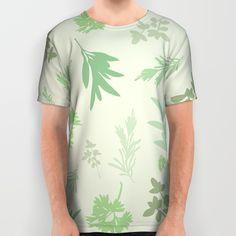 Scarborough Fair All Over Print Shirt - Minimalist, silhouette, herbs, green, Simon and Garfunkel, Paul Simon, lyrics, fan art, parsley, sage, rosemary, thyme, art, design, illustration, vector