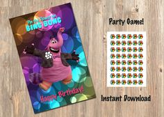 Pin The Flower On Bing Bong - Disney - Disney's -  Inside Out - Birthday Party Game - Games - Decor - Movie - Decorations - Printable by 4MustardSeeds on Etsy