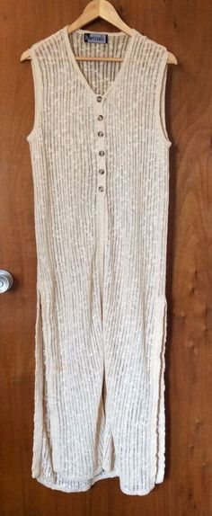 HANNAH Long Cable Sweater Vest Size M Beige Sleeveless Side Split Women Coat #HANNAH #VestSleevelessSideSplit #Casual